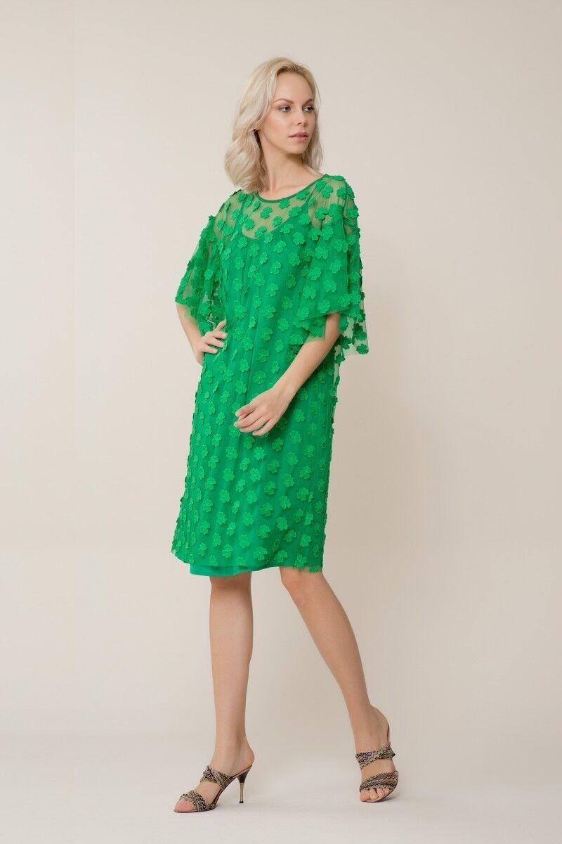 Yeşil Çiçek Detaylı Tül Elbise