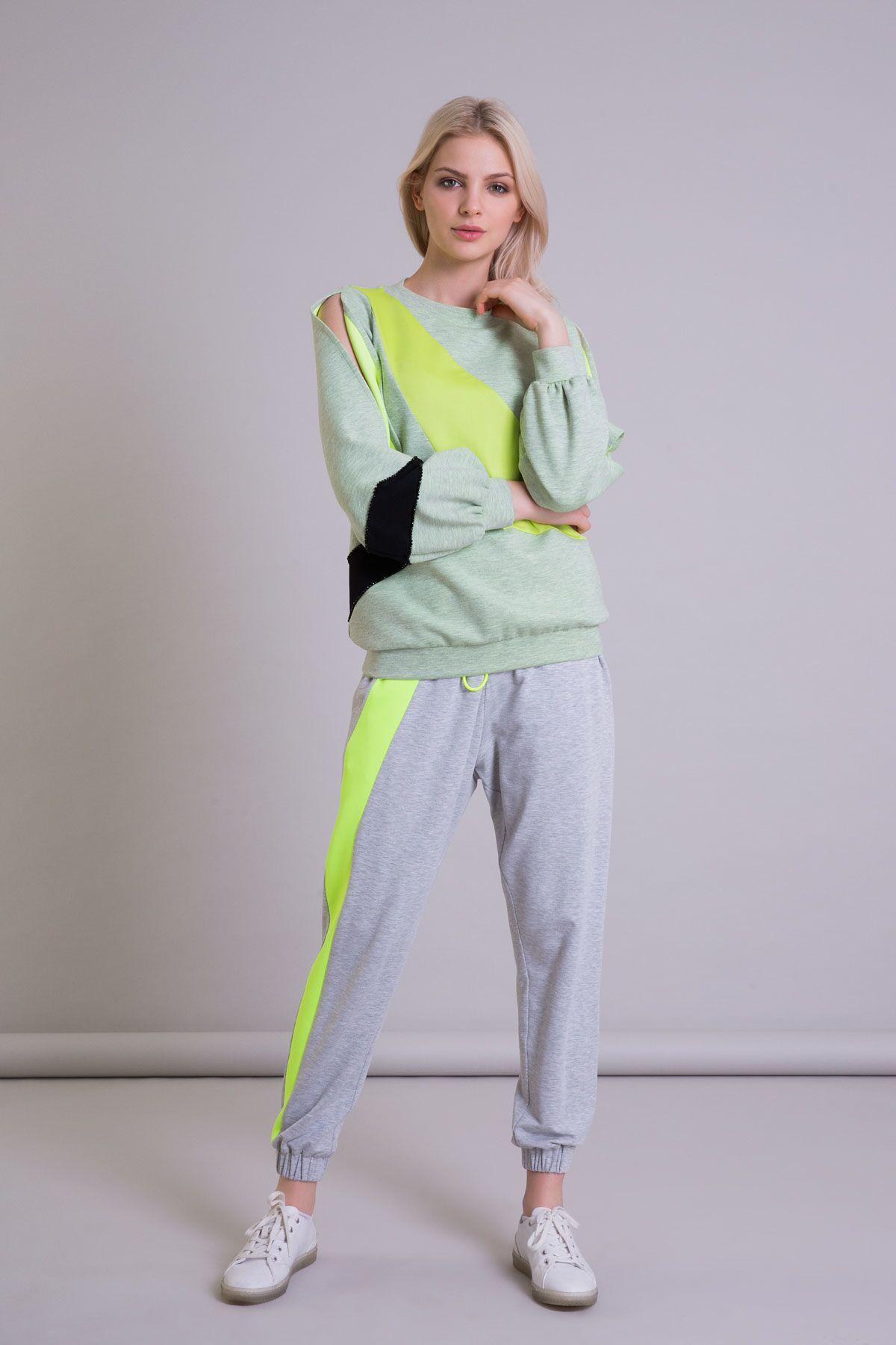 Yeşil Color Block Kol Detaylı Sweatshirt