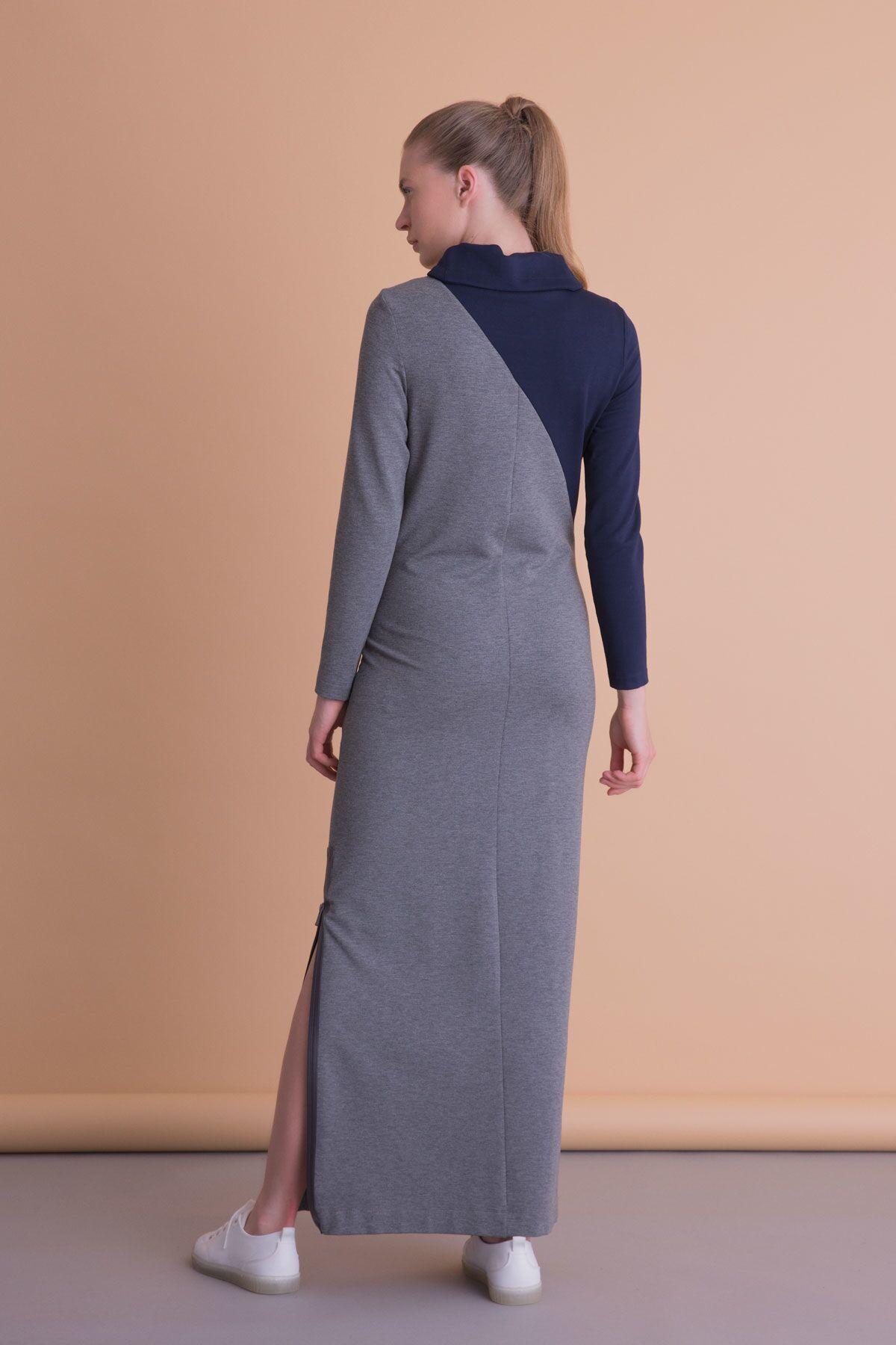 Yırtmaç Detaylı Antrasit Gri Uzun Spor Elbise