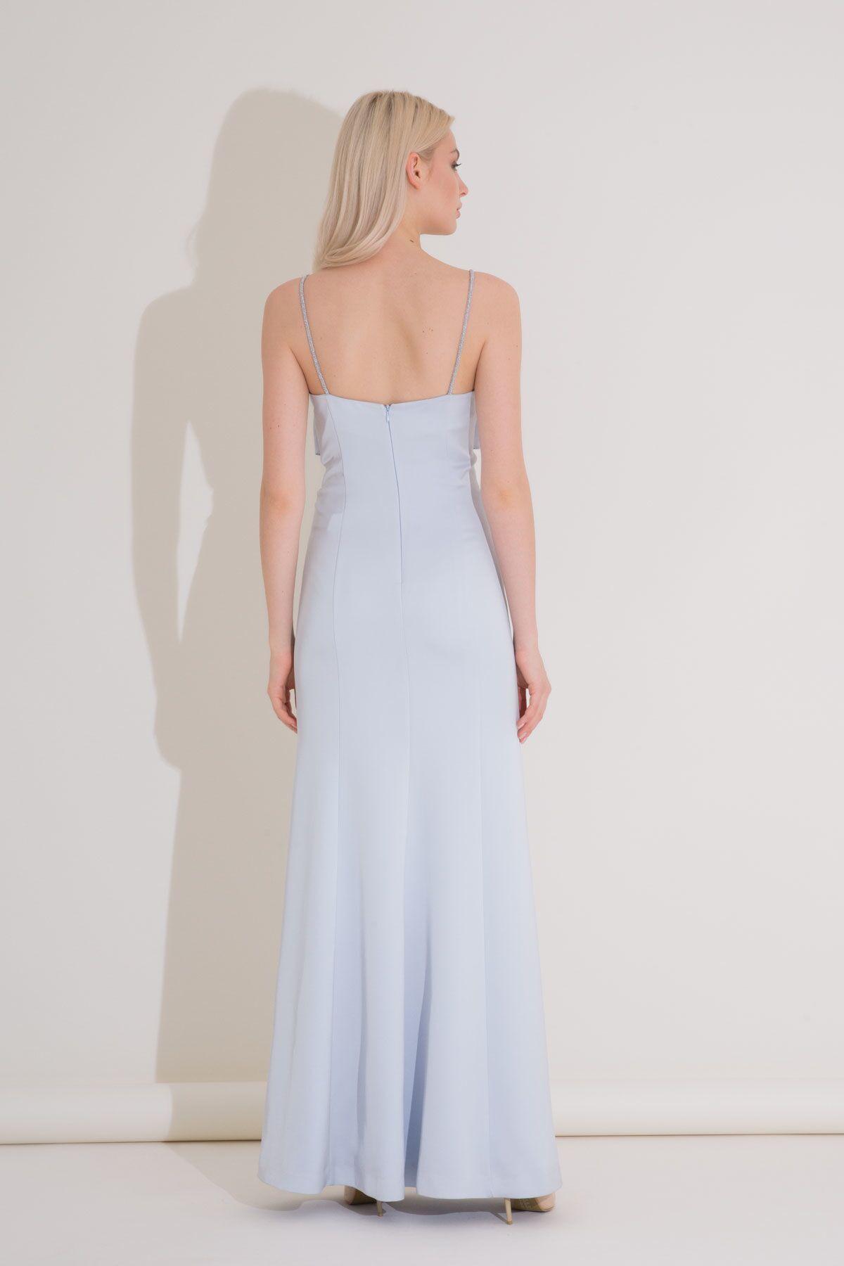 Yırtmaç Detaylı Mat Saten Askılı Mavi Abiye Elbise