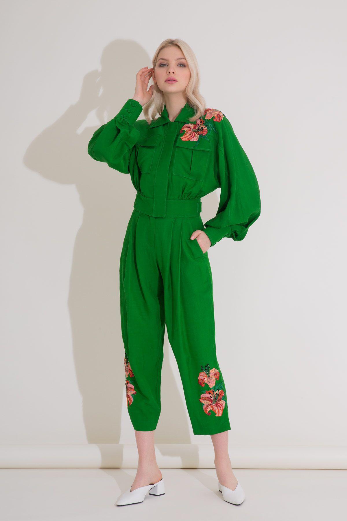 Yüksek Bel Nakış Detaylı Pilili Yeşil Pantolon