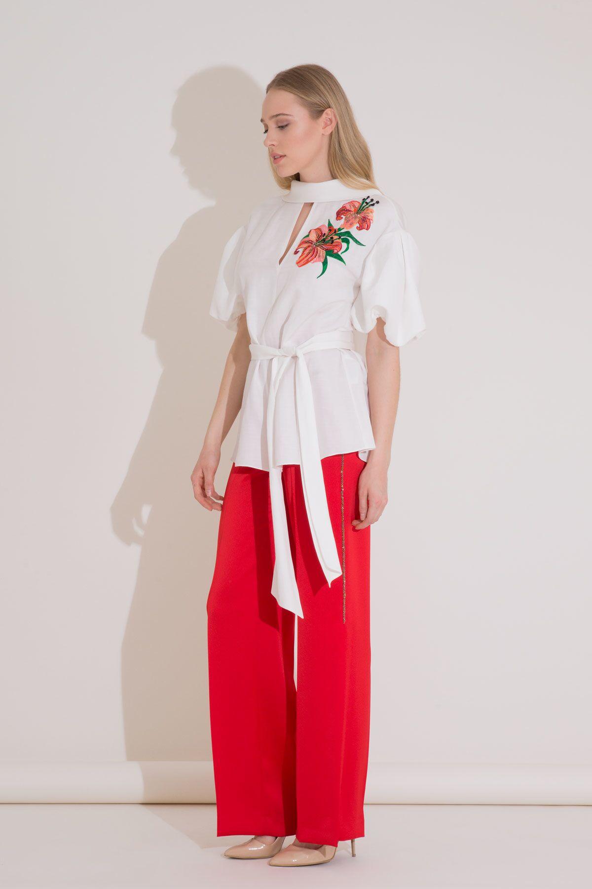 Yüksek Bel Yırtmaçlı Kırmızı Krep Kumaş Pantolon