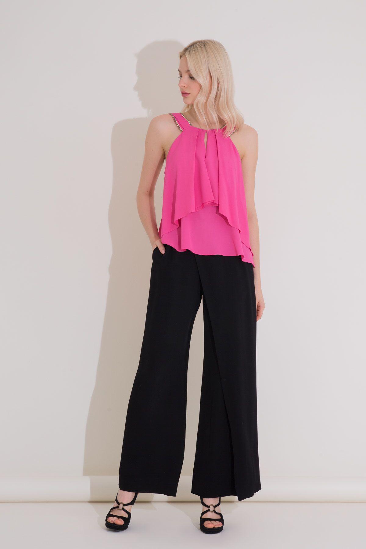 Yüksek Bel Yırtmaçlı Siyah Krep Kumaş Pantolon