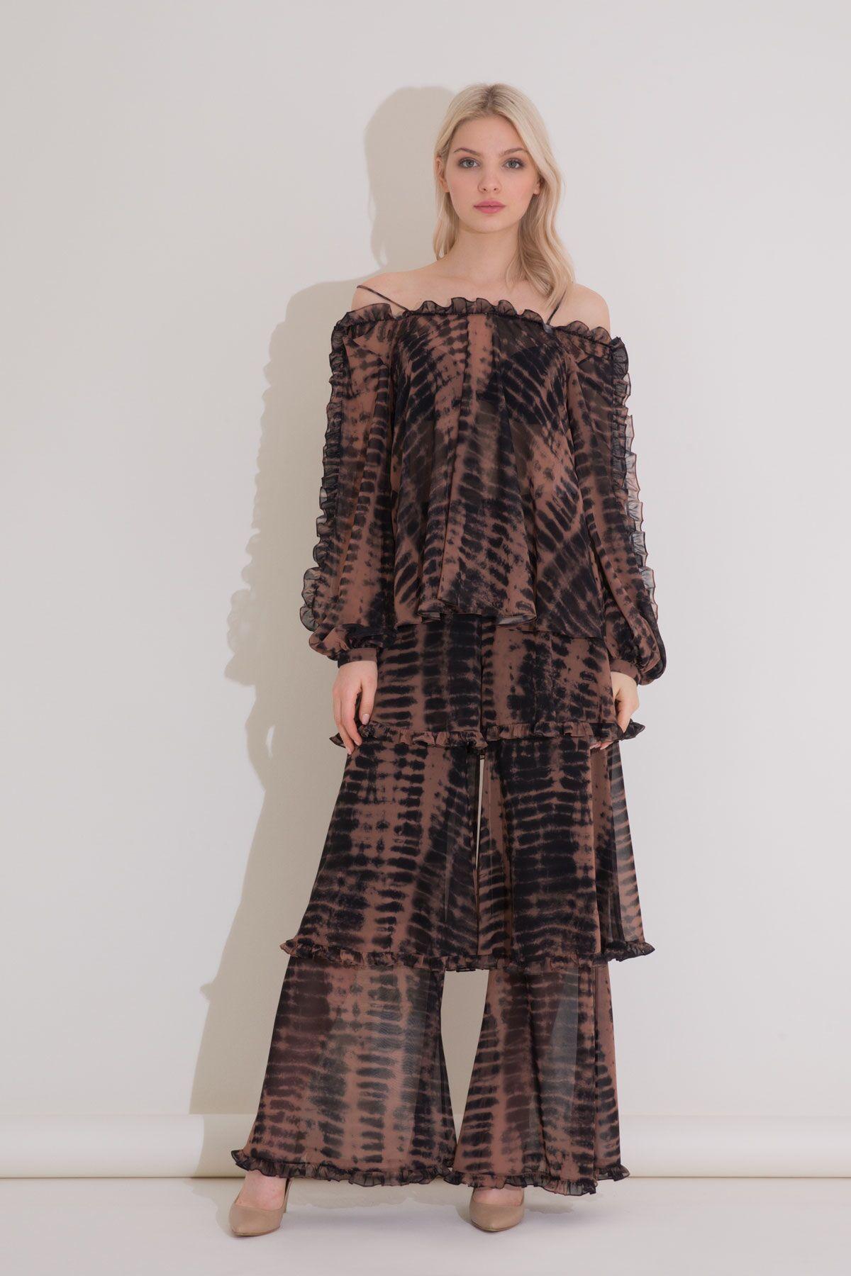 Yüksek Bel Fırfır Detaylı, Batik Desen Kat Kat Şifon Pantolon
