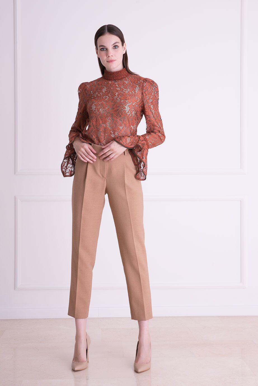 Yüksek Bel Kahverengi Havuç Kesim Kumaş Pantolon