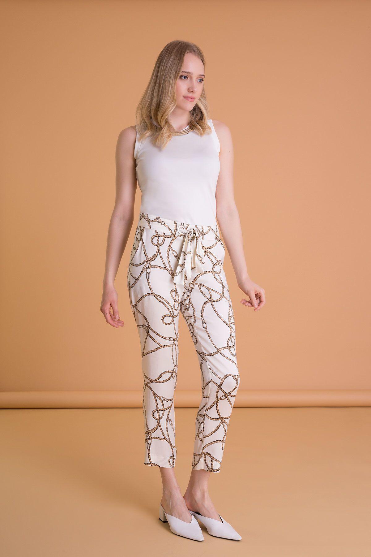 Zincir Desenli Havuç Kesim Ekru Pantolon
