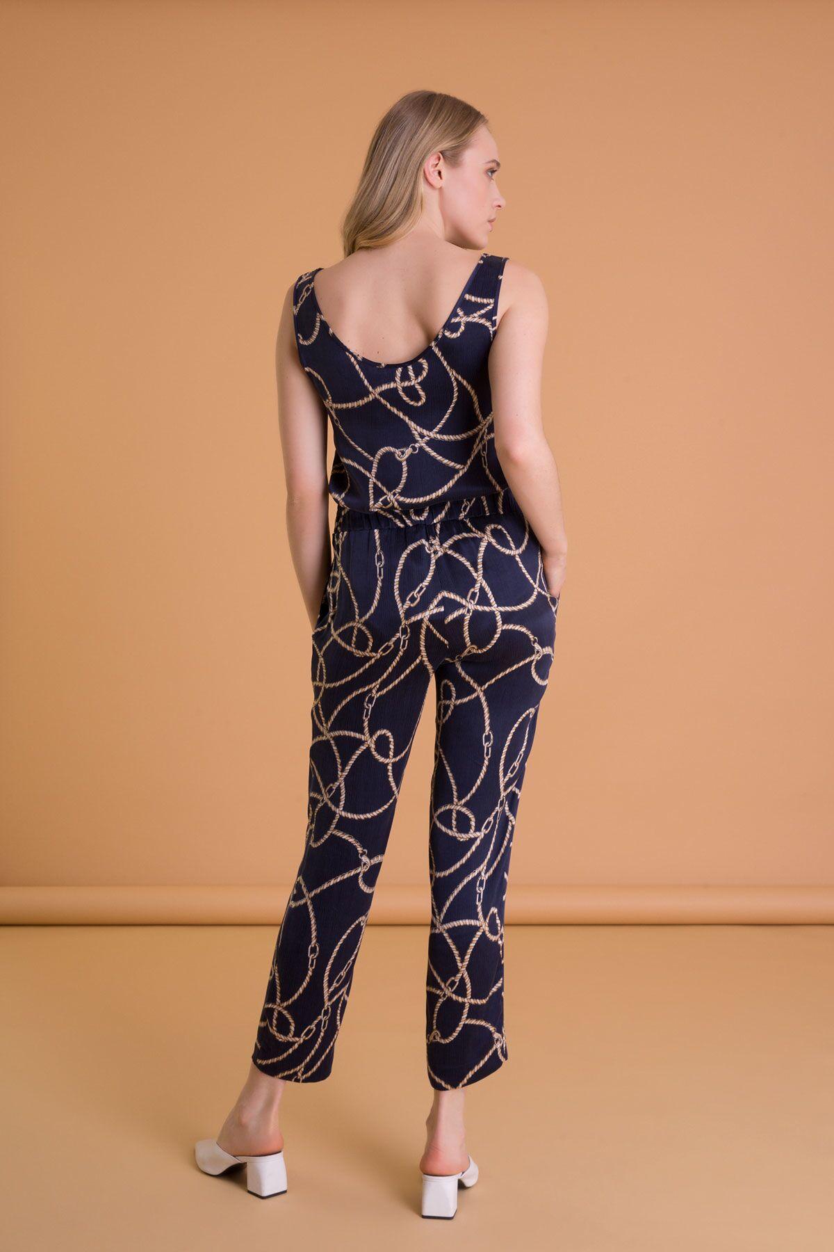 Zincir Desenli Havuç Kesim Lacivert Pantolon