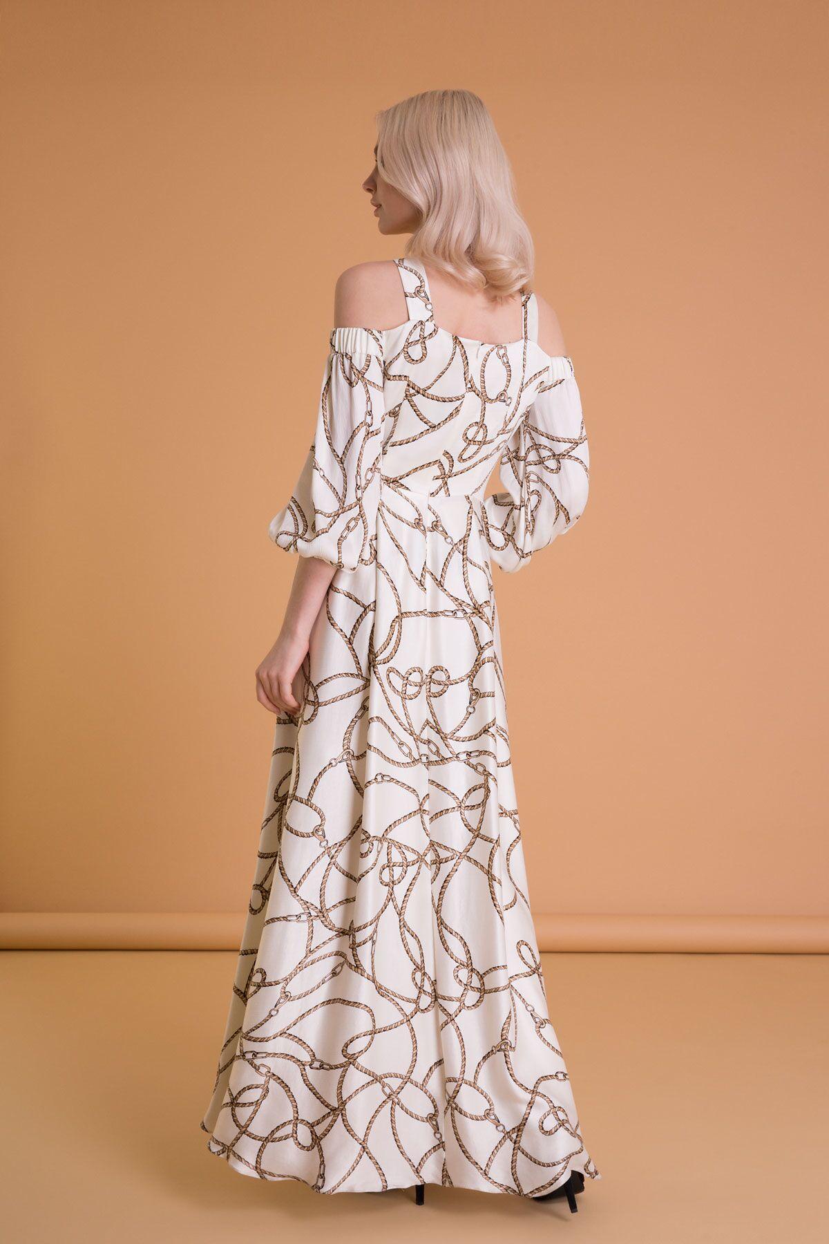 Zincir Desenli Omzu Açık Ekru Uzun Elbise